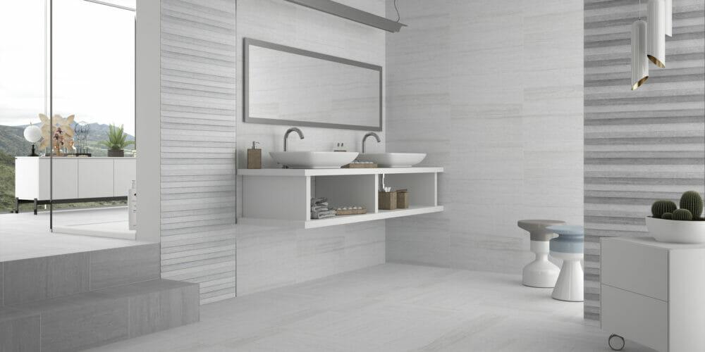 Denver white bathroom tiles